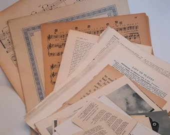 Bundle of vintage book pages vintage music sheets dictionary encyclopedia childrens book pages hymnbook pages