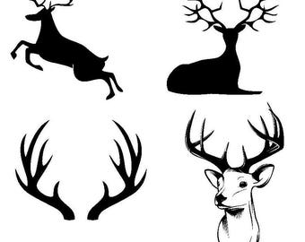 Deer and Antler cutting file set for Silhouette and Cricut/SVG/Studio 3/PNG/DXF/jpg/eps/pdf