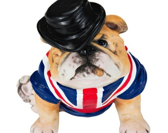"""Ultra Realistic Hand Painted British Bulldog with Union Jack Sculpture 3"""""""