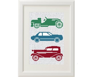 Antique Automobile Cross Stitch Embroidered Textile Panels Car Memorabilia Gift for Car Lover Sewing Ephemera Needlepoint Embroidery Fabric