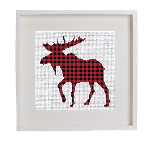b77014c7 Moose Cross Stitch Pattern Buffalo Plaid Moose Lumberjack   Etsy