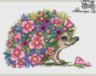 Hedgehog Cross Stitch Pattern PDF Instant Download Spring Cross Stitch Flower Cross Stitch Cute Cross Stitch Berry Cross Stitch Counted