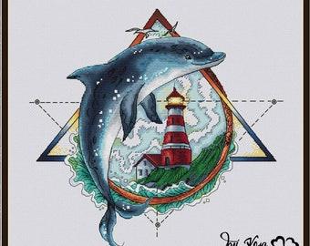 Dolphin Cross Stitch Pattern PDF Instant Download Sea Cross Stitch Lighthouse Cross Stitch Geometric Cross Stitch Ocean Cross Stitch Bright
