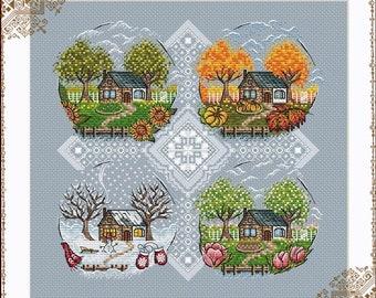 House Cross Stitch Pattern PDF Instant Download Autumn Cross Stitch Village Cross Stitch Happy Cross Stitch Season Cross Stitch Counted