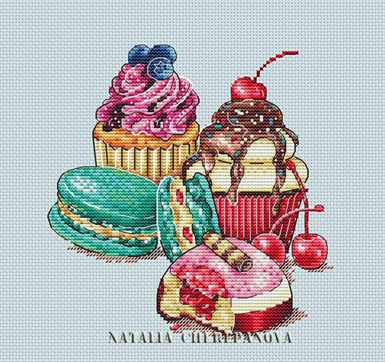 Dessert Cross Stitch Pattern PDF Instant Download Cupcake image 0