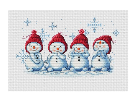 European Children in Snow Snowman Winter Holiday Counted Cross Stitch Pattern
