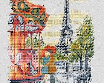 Paris Cross Stitch Pattern PDF Instant Download Love Cross Stitch Carousel Cross Stitch Autumn Cross Stitch Watercolour Cross Stitch Rain