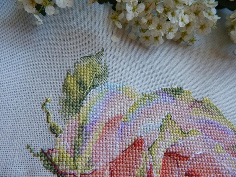 Rose Cross Stitch Pattern PDF Instant Download Art Cross Stitch Flower Cross Stitch Pink Cross Stitch Floral Cross Stitch Beautiful Xstitch