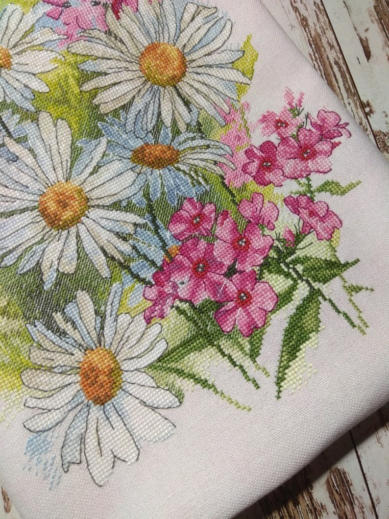 Flower Cross Stitch Pattern PDF Instant Download Chamomile Cross Stitch Meadow Cross Stitch Bright Cross Stitch White Cross Stitch Rose