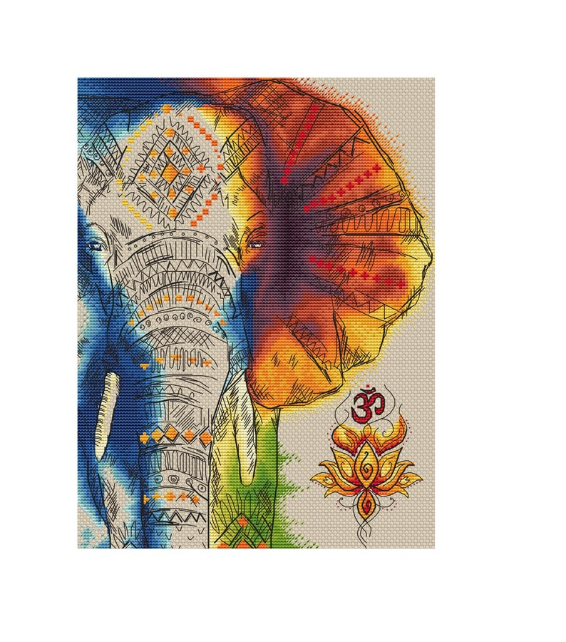 Elephant Cross Stitch Pattern PDF Instant Download Bright image 0