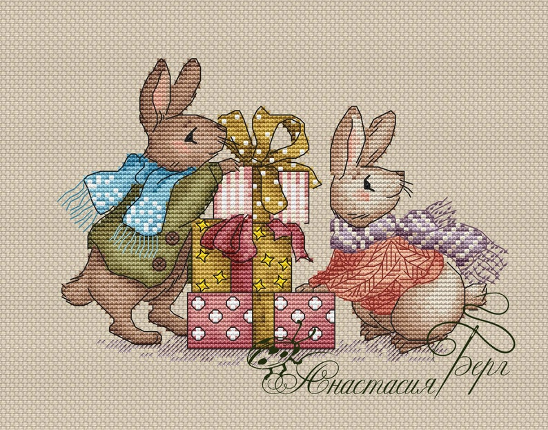 Bunny Cross Stitch Pattern PDF Instant Download Cute Cross Stitch Animal Cross Stitch Cotton Cross Stitch Counted Cross Stitch Modern Chart
