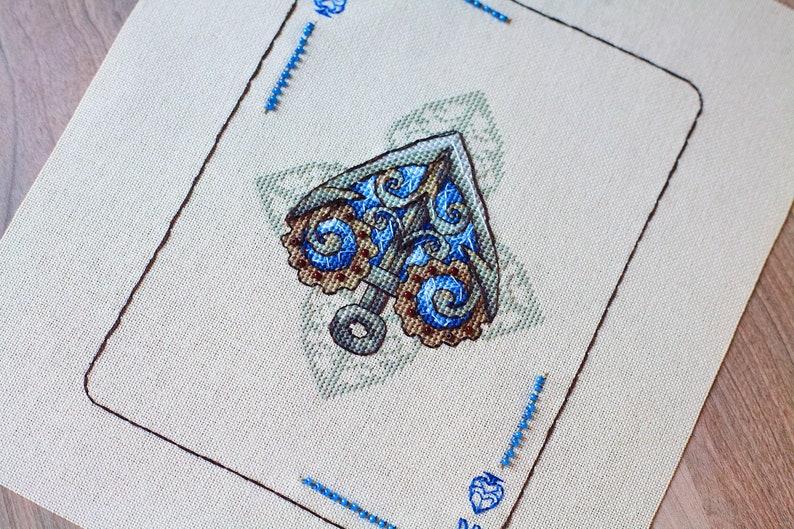 Ace Cross Stitch Pattern PDF Instant Download Playing Card Cross Stitch Steampunk Cross Stitch Modern Cross Stitch Stylish Cross Stitch Art