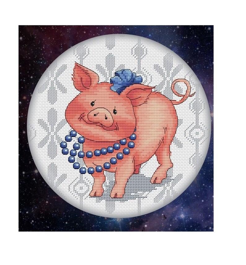Pig Cross Stitch Pattern PDF Instant Download Cute Cross Stitch Animal Cross Stitch Nursery Cross Stitch Funny Cross Stitch Adorable Xstitch