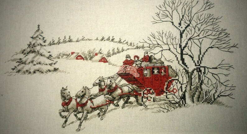 Winter Cross Stitch Pattern PDF Instant Download Carriage Cross Stitch Horse Cross Stitch People Cross Stitch Victorian Cross Stitch