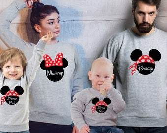Customized Family Mickey Mouse heather grey sweatshirts and babys from 6-12 months old sweatshirt set.