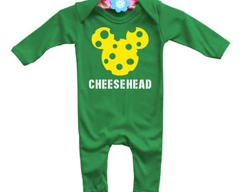 Baby's Packers Mickey Cheesehead long sleeve romparsuit with mickey mouse cheese head.