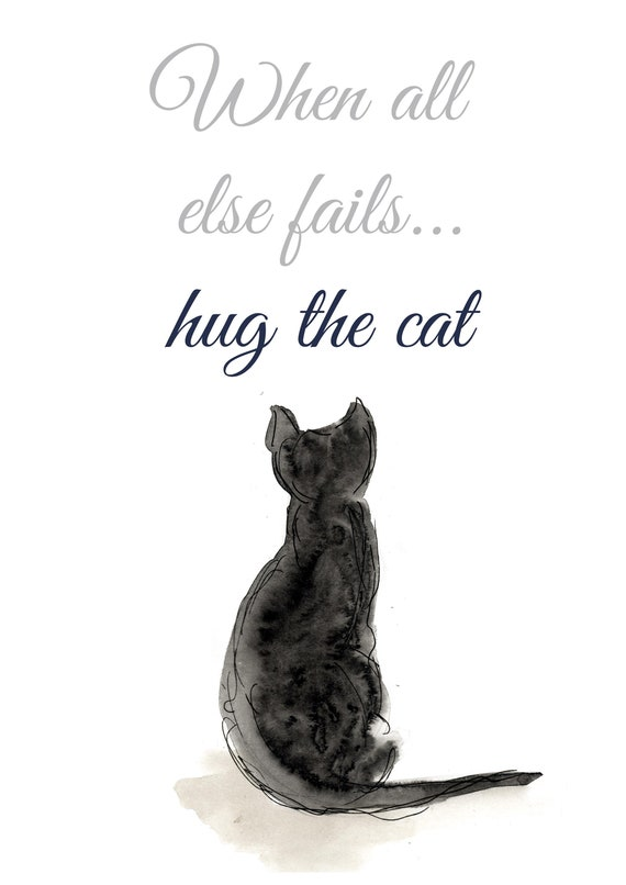 Family Wall Art Funny Quotes Black Cat Prints Cat Quotes Etsy