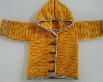 3-6 mth hooded cardigan, hand crocheted.