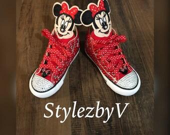 f1e08685e344 Minnie Mouse Converse - Minnie Mouse Birthday- Customize chucks - Custom  Minnie mouse Converse - Personalized Converse - Minnie Mouse chucks