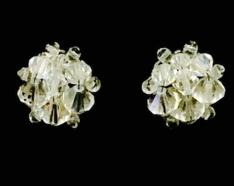50's Aurora Borealis Glass Cluster Earrings   VG2481