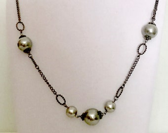Vintage Long Gray Pearl Chain Necklace    GJ2985