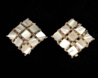 Vintage Mother of Pearl Square Earrings   GJ2861