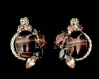 50's Purple Tiger Eye and Rhinestone Earrings     GJ2527