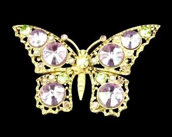 60's Butterfly  Purple Rhinestone Brooch    GJ2517