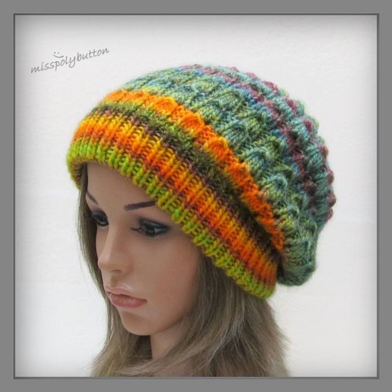 Womens Knit Hat Slouchy Beanie Hat Multi Color Hat Knitted  5fb3d93a0b5