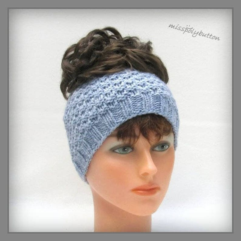 0f10bff56 Ponytail Headband for Woman Knit Headband Messy Bun Girls Headband Knitted  Winter Headband Womens Headband Handknit Wide Headband Fall