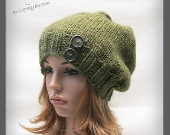 Knit beanie hat, Green knit hat, Knitted hat with buttons, winter knitted hat, handknit slouch hat, baggy tam hat