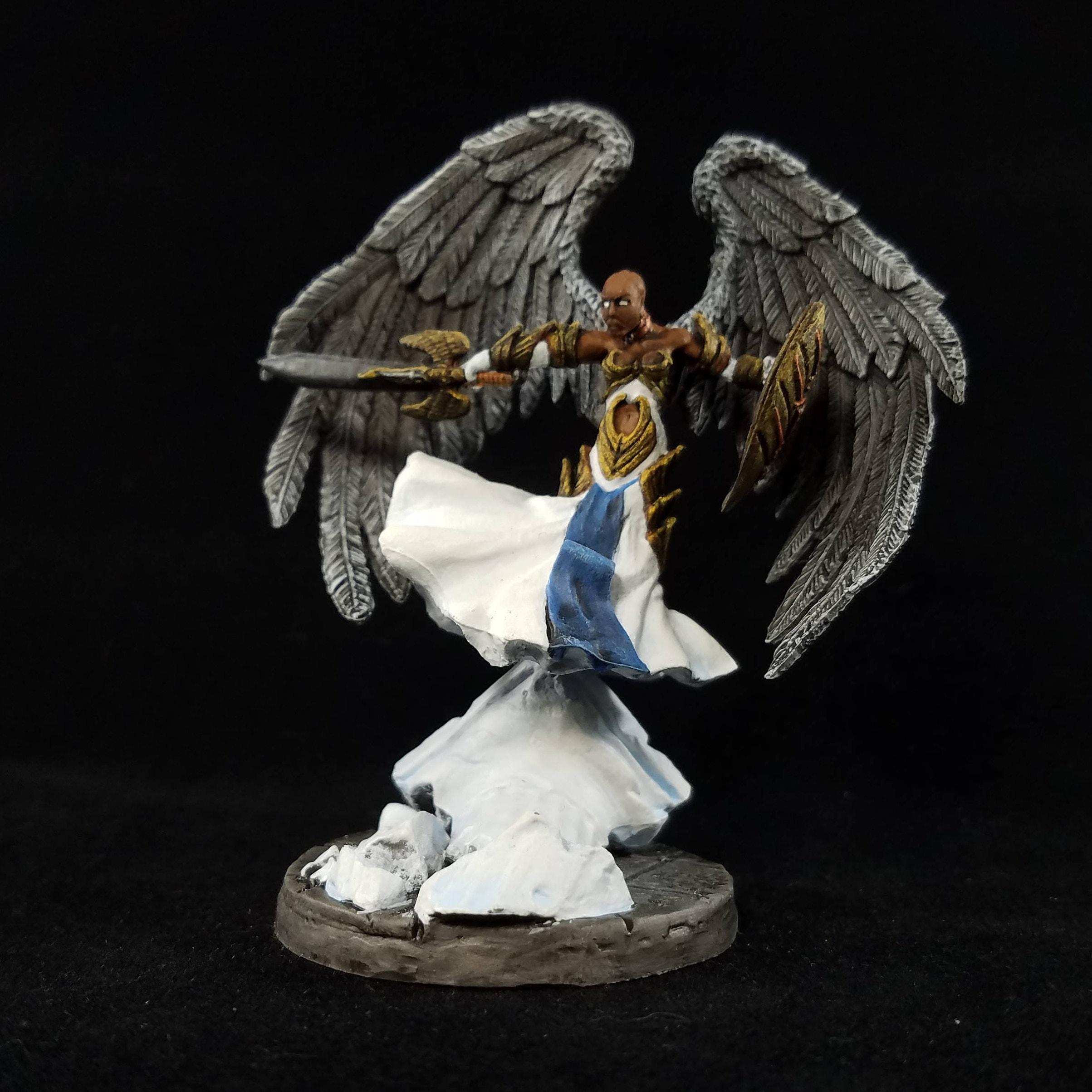 Female Aasimar Fighter Painted Mini (Reaper 77363) Air Genasi Barbarian  Cleric Paladin Ranger Cavalier D&D Pathfinder Angel Warrior