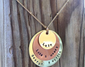 Layered Circle Necklace - Monogram, Name, Words of Importance & Charm Necklace