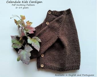 Cardigan Knitting Pattern   Calendula Kids Cardigan Knit Pattern   Top Down Cardigan   0-14 years
