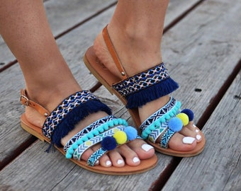 "SIZE 40, Bohemian Sandals ""Veronica"", Sample Sale, blue sandals, fringes sandals, pom pom sandales, made by genuine leather, turquoise color"