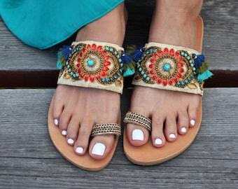 "Greek Sandals ""Bollywood"", Indian sandals, Boho sandals, handmade sandals, slip on sandals, Luxury sandals, Leather sandals"