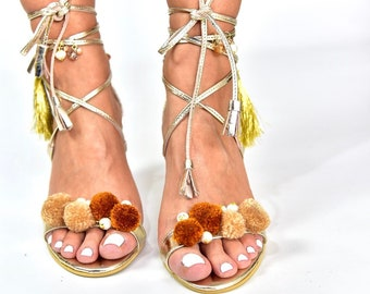 "Bohemian Sandals ""La Boheme"" gold, Gold sandals, Leather sandals, Greek sandals, Embellished sandals, handmade sandals, Colorful sandals"