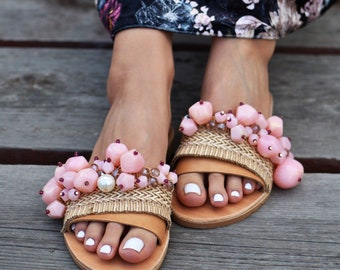 "SIZE 36, Boho Sandals ""Marshmallow"", Beaded sandals, Leather sandals, Greek sandals, Embellished sandals, handmade sandals, luxury sandals"