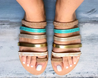 "SIZE 38, Greek Sandals ""Iris"", Strappy Gladiator sandals, Metallic sandals, handmade sandals, slides, slip on sandals"