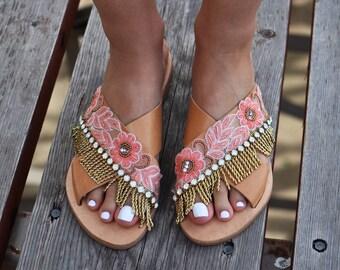 """Boho Sandals """"Angelique"""", Leather sandals, Greek sandals, Embellished sandals, handmade sandals, luxurious sandals, gold sandals"""
