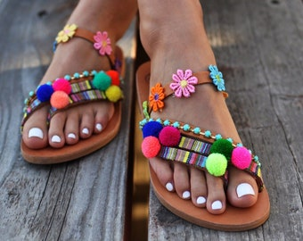 "SIZE 39, Pom pom Sandals ""Liatris"", Greek leather sandals, Artisanal sandals, Handmade sandals, boho sandals, slipon shoes, Colorful sandals"