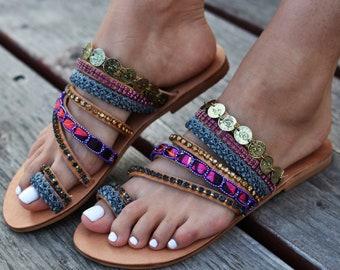 """Leather Sandals """"Cyrene"""", Boho sandals, Greek Sandals,  Luxurious, Swarovski crystals,  Ethnic sandals, Slip on sandals, Embellished sandals"""
