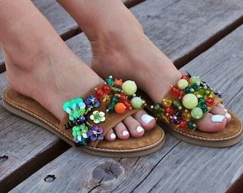 "Leather suede sandals ""Mosquito"", Slides sandals, Boho sandals, Greek sandals, Handmade sandals, Beaded sandals, Pom pom sandals, Sequin"
