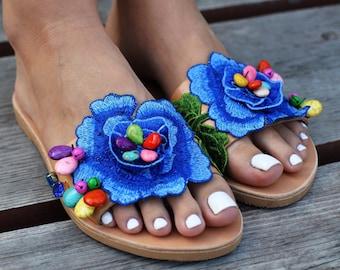 """Greek sandals """"Zephra"""", Boho sandals, Embellished sandals, Beaded sandals, Bohemian sandals, flower sandals, blue sandals, bejeweled sandals"""
