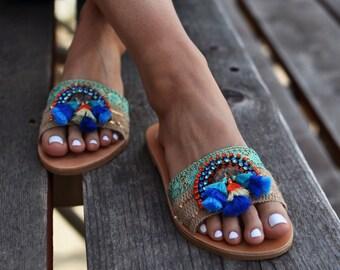 "Leather sandals ""Ocean"", Indian sandals, Blue sandals, Boho sandals, Greek sandals, handmade sandals, Pom pom sandals"