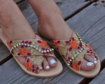 """Boho Sandals """"Saffron"""", Leather sandals, Greek sandals, Embellished sandals, handmade sandals, luxurious sandals, gold sandals"""