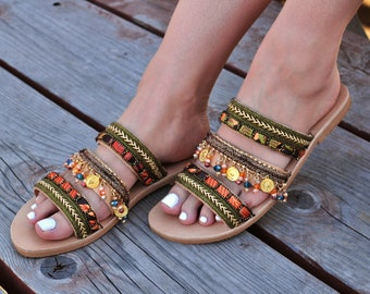 """Leather sandals """"Aysel"""", Handcrafted Greek sandals, Ancient sandals, Gold sandals, Gladiator sandals, Boho sandals"""