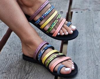 """Greek Sandals """"Rainbow"""", Strappy Gladiator sandals, Metallic sandals, handmade sandals, slides, slip on sandals"""