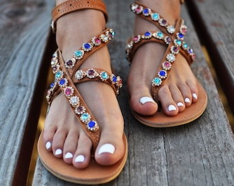 """Luxurious Sandals """"Lilac"""", Handmade leather sandals, Greek sandals, bridal sandals, Chic sandals, Swarovski crystals, colorful crystals"""