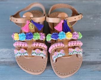 """Kids sandals """"Butterfly"""", Baby Kids Gladiator sandals, Leather Sandals, Slingback Strap Sandals, Boho sandals, Greek sandals"""